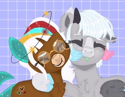 Size: 781x609   Tagged: safe, alternate version, artist:dxggy_tearz, oc, oc only, earth pony, pegasus, pony, :p, base used, chest fluff, cloven hooves, ear piercing, earring, earth pony oc, eyes closed, freckles, glasses, hear, jewelry, pegasus oc, piercing, side hug, solo, tongue out, wings