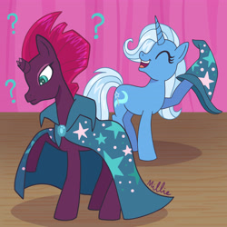 Size: 4096x4096 | Tagged: safe, artist:milliedubois, tempest shadow, trixie, pony, unicorn, broken horn, cape, clothes, confused, duo, eyes closed, female, hat, hoof hold, horn, mare, question mark, signature, smiling, wizard hat
