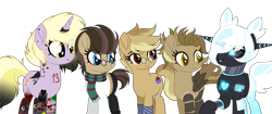 Size: 3500x1466 | Tagged: safe, artist:angelina-pax, artist:dianamur, dinky hooves, oc, oc:clockwork (ice1517), oc:cyber heart (ice1517), oc:time liz, oc:tinker (ice1517), cyborg, earth pony, pegasus, pony, robot, robot pony, unicorn, icey-verse, alternate hairstyle, amputee, artificial wings, augmented, aunt and nephew, aunt and niece, binary, clothes, commission, ear piercing, earring, eyeshadow, female, glasses, group, hair over one eye, heart, horn, horn ring, jeans, jewelry, lip piercing, makeup, male, mare, multicolored hair, offspring, older, older dinky hooves, open mouth, oven mitts, pants, parent:derpy hooves, parent:doctor whooves, parents:doctorderpy, piercing, prosthetic leg, prosthetic limb, prosthetic wing, prosthetics, raised eyebrow, raised hoof, scarf, simple background, stallion, sweater, tattoo, transparent background, wings, ych result