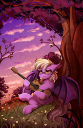 Size: 2036x3143 | Tagged: safe, artist:pridark, oc, oc only, oc:pinkfull night, bat pony, pony, against tree, bat pony oc, bat wings, crossed hooves, cutie mark, fangs, flower, forest, glasses, guitar, musical instrument, patreon, patreon reward, relaxing, scenery, scenery porn, smiling, solo, sunset, teenager, tree, wings