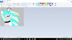 Size: 1366x768   Tagged: safe, artist:_wulfie, oc, oc only, oc:wulfie, alicorn, pony, alicorn oc, bust, choker, eyes closed, female, horn, mare, ms paint, solo, wings, wip