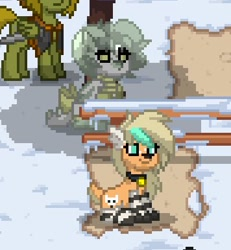 Size: 356x386 | Tagged: safe, artist:_wulfie, oc, oc only, dog, dog pony, ghost, pegasus, pony, undead, pony town, clothes, collar, pegasus oc, pixel art, sitting, smiling, snow, socks, striped socks, wings
