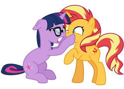Size: 1024x732 | Tagged: safe, artist:emeraldblast63, sci-twi, sunset shimmer, twilight sparkle, pony, unicorn, equestria girls, equestria girls series, spring breakdown, spoiler:eqg series (season 2), boop, cheek squish, equestria girls ponified, eyes closed, horn, horns are touching, nose to nose, noseboop, open mouth, ponified, raised hoof, squishy cheeks, unicorn sci-twi, yelling