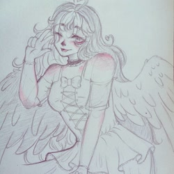 Size: 1080x1080   Tagged: safe, artist:mayguay, oc, oc only, human, blushing, bust, choker, clothes, dress, female, humanized, one eye closed, peace sign, solo, traditional art, winged humanization, wings, wink