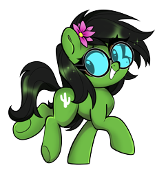 Size: 2388x2481 | Tagged: safe, artist:techycutie, oc, oc only, oc:prickly pears, flower, flower in hair, glasses, mole, simple background, smiling, solo, transparent background
