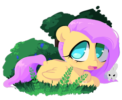 Size: 500x411 | Tagged: safe, artist:penpale-heart, angel bunny, fluttershy, pegasus, pony, rabbit, animal, bush, cute, duo, female, grass, male, mare, no pupils, open mouth, prone, shyabetes, simple background, transparent background