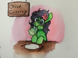 Size: 3264x2448 | Tagged: safe, artist:nootaz, oc, oc:olive garden, oc:prickly pears, blushing, cactus, eating, flower, flower in hair, glasses, mole, traditional art