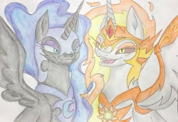 Size: 1080x741 | Tagged: safe, artist:aluramoon_, daybreaker, nightmare moon, alicorn, pony, duo, ethereal mane, female, grin, helmet, mane of fire, mare, open mouth, peytral, siblings, sisters, smiling, starry mane, traditional art