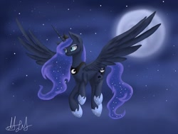 Size: 831x629   Tagged: safe, artist:aluramoon_, princess luna, alicorn, pony, ethereal mane, female, flying, full moon, galaxy mane, hoof shoes, jewelry, mare, moon, night, peytral, signature, solo, spread wings, stars, tiara, wings
