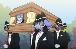 Size: 8000x5120 | Tagged: safe, artist:difis, oc, oc:aneroid hydrolock, oc:cirrus sky, oc:mitzy, oc:whirly windmills, anthro, bat pony, pegasus, unicorn, absurd resolution, clothes, coffin, coffin dance, funeral, hat, meme, rest in peace, suit