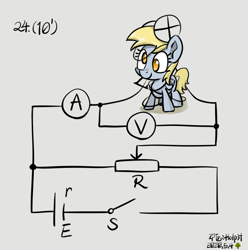 Size: 814x822 | Tagged: safe, artist:holp, derpy hooves, pegasus, pony, circuit, cute, derpabetes, derpy being derpy, electricity, examination, female, light bulb, mare, no pupils, physics, resistor, signature, simple background, solo, test