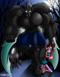 Size: 989x1280 | Tagged: safe, artist:sonicsweeti, oc, oc only, oc:ebonheart, anthro, changeling, changeling behemoth, earth pony, unguligrade anthro, abs, biceps, changeling oc, clothes, commission, digital art, drone, fangs, female, hiding, horn, male, muscles, night, overdeveloped muscles, pecs, protecting, shorts, tail