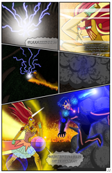 Size: 2331x3600 | Tagged: safe, artist:artemis-polara, flash sentry, sunset shimmer, comic:a battle to save a possessed soul, equestria girls, arm cannon, armor, aura, badass, bleeding, blood, breasts, burning, cleavage, clothes, comic, commission, corrupted, danger, dark samus, daydream shimmer, destruction, devastation, dress, electricity, energy, explosion, fear, female, fight, fire, forest, horn, injured, magic, male, metroid, night, pain, phazon, possessed, scared, shocked expression, smoke, transformation, tree, weapon