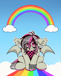 Size: 2000x2500 | Tagged: safe, artist:etoz, oc, oc only, oc:gravel shine, bat pony, bandana, bat pony oc, bat wings, clothes, cloud, ear piercing, earring, emo, fangs, jewelry, makeup, male, piercing, rainbow, sad, sky, stallion, wings