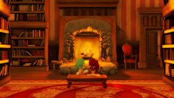 Size: 1920x1080 | Tagged: safe, artist:tenebris, oc, oc only, oc:emerald jewel, oc:ruby rouge, earth pony, pony, colt quest, 3d, book, bookshelf, candle, chair, colt, female, filly, fire, fireplace, foal, male, reading, source filmmaker