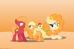 Size: 4500x3000 | Tagged: safe, artist:mrkat7214, apple bloom, applejack, big macintosh, pear butter, earth pony, pony, adorabloom, apple siblings, apple sisters, baby, baby apple bloom, blank flank, boop, brother and sister, colt big macintosh, cute, female, filly, filly applejack, flower, flower in hair, high res, jackabetes, macabetes, male, mother and child, mother and daughter, mother and son, mother's day, nose wrinkle, pearabetes, prone, siblings, sisters, younger