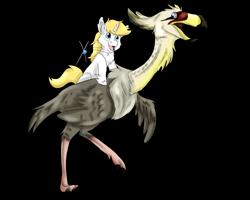 Size: 2500x2000 | Tagged: safe, artist:euspuche, oc, oc only, oc:escutcheon, bird, dinosaur, unicorn, riding, simple background, smiling, transparent background
