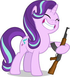 Size: 2481x2736 | Tagged: safe, artist:duskyzombie, artist:hazy_reply, edit, edited screencap, screencap, starlight glimmer, pony, unicorn, memnagerie, spoiler:memnagerie, spoiler:mlp friendship is forever, ak-47, assault rifle, big smile, cropped, cute, eyes closed, female, glimmerbetes, gun, high res, mare, rifle, simple background, smiling, solo, this will end in communism, transparent background, vector, weapon