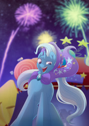 Size: 900x1273 | Tagged: safe, artist:littlehybridshila, trixie, pony, unicorn, boast busters, female, fireworks, mare, night, open mouth, solo, stage