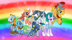 Size: 5360x3008 | Tagged: safe, artist:andoanimalia, edit, flash magnus, meadowbrook, mistmane, rockhoof, somnambula, star swirl the bearded, earth pony, pegasus, pony, unicorn, absurd resolution, armor, clothes, flying, hat, open mouth, pillars of equestria, rainbow, smiling, wallpaper, wallpaper edit, wizard hat
