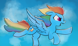 Size: 3508x2080 | Tagged: safe, artist:akuneanekokuro, rainbow dash, pegasus, pony, cutie mark, female, flying, high res, mare, solo, wings