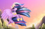 Size: 3800x2400 | Tagged: safe, alternate version, artist:rivin177, twilight sparkle, alicorn, pony, the last problem, crown, cute, eye clipping through hair, female, flying, high res, hoof shoes, jewelry, looking at you, mare, older, older twilight, princess twilight 2.0, regalia, sky, smiling, solo, spread wings, twiabetes, twilight sparkle (alicorn), wings