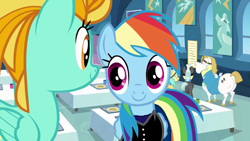 Size: 1280x720 | Tagged: safe, artist:kayman13, edit, edited screencap, screencap, bulk biceps, lightning dust, rainbow dash, sunshower raindrops, thunderlane, wonderbolts academy, clothes, looking at each other, pants, shirt, smiling, undershirt, wonderbolts headquarters