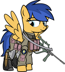Size: 8000x8806 | Tagged: safe, artist:icey-wicey-1517, artist:n0kkun, color edit, edit, flash sentry, pegasus, pony, alternate hairstyle, armor, belt, boots, clothes, collaboration, colored, combat armor, combat boots, female, flare warden, gun, knee pads, mare, military, military uniform, pants, pouch, rifle, rule 63, shoes, simple background, smiling, smirk, solo, spetsnaz, steyr aug, transparent background, weapon