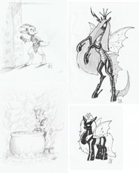 Size: 1872x2343 | Tagged: safe, artist:carnifex, queen chrysalis, changeling, changeling queen, kobold, black and white, chef's hat, collection, cook, crown, dungeons and dragons, female, grayscale, hat, ink drawing, jewelry, monochrome, pen and paper rpg, pencil drawing, regalia, rpg, scanned, shackles, traditional art