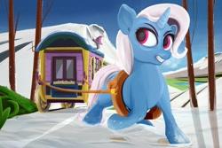 Size: 1200x800   Tagged: safe, artist:scarlet wayfarer, trixie, pony, unicorn, female, mare, pulling, road, snow, solo, trixie's wagon
