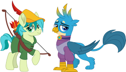 Size: 2621x1500 | Tagged: safe, artist:cloudyglow, gallus, sandbar, earth pony, griffon, pony, arrow, bow (weapon), bow and arrow, clothes, cosplay, costume, crossover, cute, disney, feather, femboy, gallabetes, gallbar, gay, hat, looking at you, maid marian, male, movie accurate, raised hoof, robin hood, sandabetes, shipping, simple background, stallion, transparent background, trap, weapon