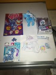 Size: 2976x3968 | Tagged: safe, artist:javierman, trixie, unicorn, equestria girls, cute, diatrixes, spanish, toy, traditional art