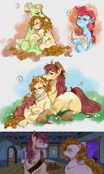 Size: 1200x2000 | Tagged: safe, artist:bunnari, apple bloom, applejack, big macintosh, bright mac, cup cake, granny smith, pear butter, earth pony, pony, apple family, baby macintosh, beard, body freckles, brightbutter, chiffon swirl, colt, colt big macintosh, crying, ear piercing, earring, eye contact, facial hair, female, floppy ears, freckles, implied applejack, jewelry, looking at each other, male, mare, piercing, pregnant, shipping, stallion, straight, tears of joy, unshorn fetlocks, young granny smith, younger