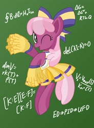 Size: 1398x1900   Tagged: safe, artist:notadeliciouspotato, cheerilee, earth pony, pony, bow, chalkboard, cheeribetes, cheerileeder, cheerleader, cheerleader outfit, clothes, cute, female, gradient background, mare, math, one eye closed, open mouth, pleated skirt, pom pom, skirt, smiling, solo, teacher, wink