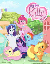Size: 618x800 | Tagged: safe, artist:sonicsweeti, applejack, fluttershy, pinkie pie, rainbow dash, rarity, twilight sparkle, alicorn, cat, applecat, catified, collar, digital art, fluttercat, hat, horn, mane six, pinkie cat, ponyloaf, rainbow cat, raricat, species swap, twilight cat, twilight sparkle (alicorn), wings