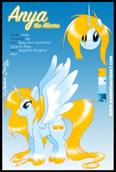 Size: 540x800 | Tagged: safe, artist:sonicsweeti, oc, oc only, oc:anya, alicorn, pony, alicorn oc, cutie mark, digital art, female, horn, mare, reference sheet, wings