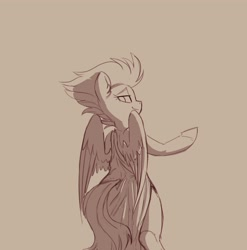Size: 2597x2624 | Tagged: safe, artist:yoditax, spitfire, pegasus, pony, bipedal, clothes, female, lidded eyes, looking back, monochrome, sketch, smiling, solo, toga