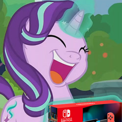 Size: 736x740 | Tagged: safe, edit, edited screencap, screencap, starlight glimmer, pony, unicorn, memnagerie, spoiler:memnagerie, spoiler:mlp friendship is forever, cropped, glowing horn, horn, nintendo switch, open mouth, solo