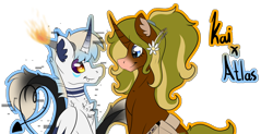 Size: 1716x846 | Tagged: safe, oc, oc:glitchy, alicorn, demon, earth pony, pegasus, pony, unicorn, bag, colored, error, fire, flat colors, flower, glitch, highlights, horns, league of legends, love, ponytail, ship, shipping, simple background, solo, sona, transparent background
