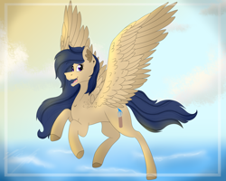 Size: 5000x4000 | Tagged: safe, artist:chazmazda, oc, oc only, pegasus, pony, art trade, cloud, commissions open, cutie mark, floating, flying, hair, sky, solo, wings