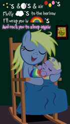 Size: 900x1600 | Tagged: safe, artist:magerblutooth, derpy hooves, dinky hooves, bird, duck, pegasus, pony, unicorn, balloon, blanket, cloud, cute, derpabetes, dinkabetes, equestria's best daughter, equestria's best mother, eyes closed, female, holding a pony, lullaby, messy mane, moon, mother and child, mother and daughter, pictogram, picture frame, rainbow, rocking chair, sleeping, stars