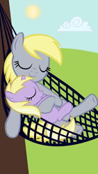 Size: 900x1600 | Tagged: safe, artist:magerblutooth, derpy hooves, dinky hooves, pegasus, pony, unicorn, clothes, cute, derpabetes, dinkabetes, equestria's best daughter, equestria's best mother, eyes closed, female, hammock, mother and child, mother and daughter, relaxing, smiling, sun, tree