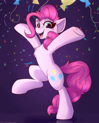Size: 1600x2000 | Tagged: safe, artist:shadowreindeer, pinkie pie, earth pony, pony, balloon, bipedal, chest fluff, confetti, cute, diapinkes, female, happy, mare, solo
