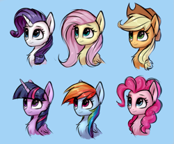 Size: 1033x852 | Tagged: safe, artist:setharu, applejack, fluttershy, pinkie pie, rainbow dash, rarity, twilight sparkle, alicorn, earth pony, pegasus, pony, unicorn, applejack's hat, bust, chest fluff, cowboy hat, cute, female, hat, horn, looking away, mare, portrait, twilight sparkle (alicorn), wings