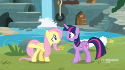Size: 1600x900   Tagged: safe, screencap, fluttershy, twilight sparkle, alicorn, bird, swan, memnagerie, spoiler:memnagerie, spoiler:mlp friendship is forever, 9now, door, grass, outdoors, sweet feather sanctuary, tire swing, twilight sparkle (alicorn), waterfall, watermark