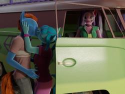 Size: 2160x1620 | Tagged: safe, artist:stellarator, aria blaze, sonata dusk, oc, oc:smoothie, anthro, unguligrade anthro, 3d, blender, canon x oc, cycles, disguise, disguised siren, eyeroll, gem, kissing, not sfm, siren gem, van, volkswagen transporter