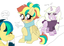 Size: 960x693   Tagged: safe, artist:unoriginai, oc, oc only, oc:apogee, oc:dyxzala, oc:northern fall, hybrid, pegasus, unicorn, zony, braces, clothes, cute, female, freckles, magical lesbian spawn, mother and child, mother and daughter, offspring, parent:oc:apogee, parent:oc:dyx, parent:oc:jet stream, parent:oc:zala, parents:apojet, parents:oc x oc, product of incest, scarf, siblings, sisters, sweater