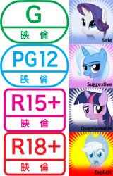 Size: 2624x4096   Tagged: safe, edit, applejack, rarity, trixie, twilight sparkle, earth pony, pony, unicorn, applejack's hat, comparison, cowboy hat, eirin, female, hat, japanese, mare, meta, meta:explicit, meta:questionable, meta:safe, meta:suggestive, ratings, spoiler image