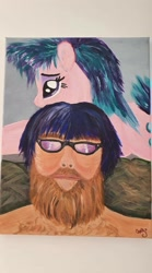 Size: 1120x2016 | Tagged: safe, starlight glimmer, human, unicorn, irl, irl human, painting, photo, plushie, traditional art
