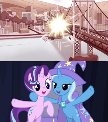 Size: 1280x1442 | Tagged: safe, artist:mega-poneo, starlight glimmer, trixie, pony, to where and back again, meme, regular show